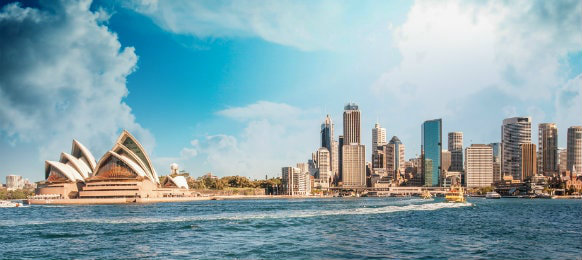 outstanding skyline view of sydney from harbour