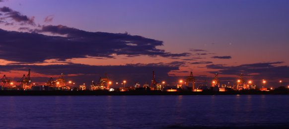 Sunset panorama view from port botany, Sydney